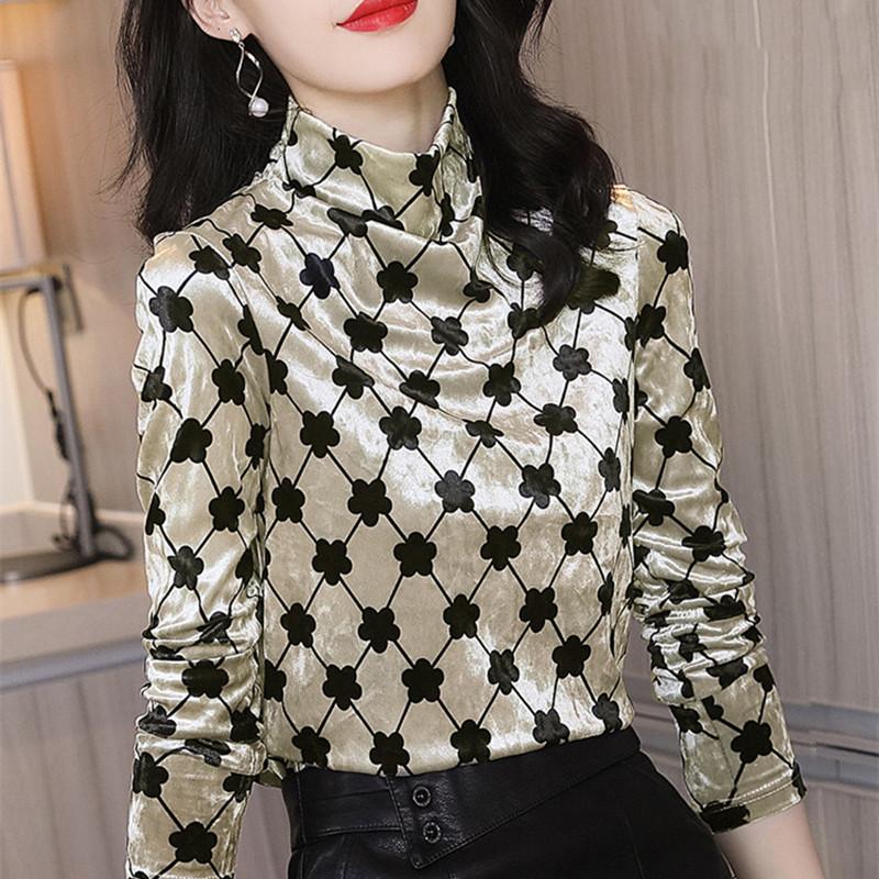 金丝绒上衣女长袖2020秋冬新款时尚洋气半高领印花宽松打底衫内搭