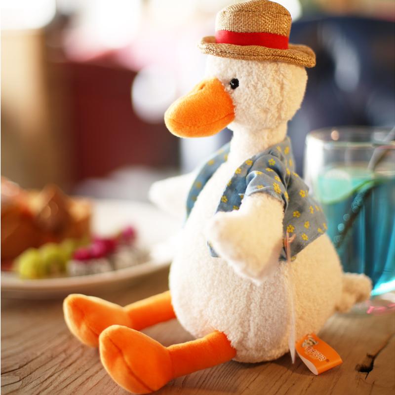(用1元券)可爱加油鸭公仔网红小黄鸭子毛绒玩具丑萌鸭子玩偶度假先生布娃娃
