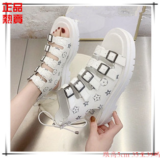Young, medium and large childrens one line buckle high top Roman womens sandals button open toe medium heel flat bottomed fashion students cool boots