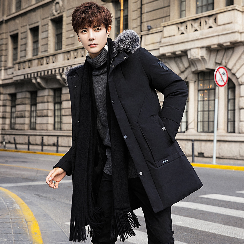 Down jacket mens winter 2019 new thickened winter trend popular large hairband medium length tooling coat