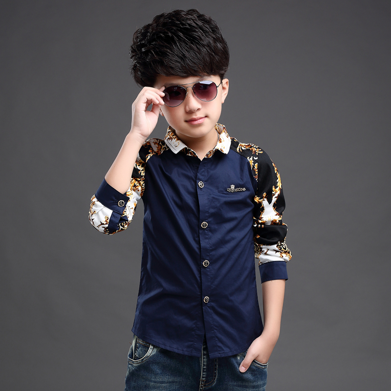 Boys shirt long sleeve 2021 spring and autumn new childrens pure cotton middle and large childrens top comfortable foreign style shirt fashion