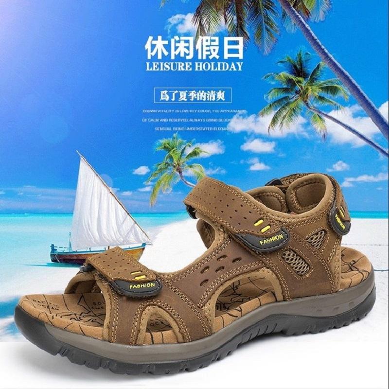 2021新款夏季真皮凉鞋男士潮流防滑凉拖鞋运动休闲防臭户外沙滩鞋