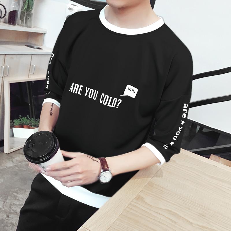 9.9新款初中男生短袖T恤學生韓版寬鬆七分袖7分半袖潮流個性衣服