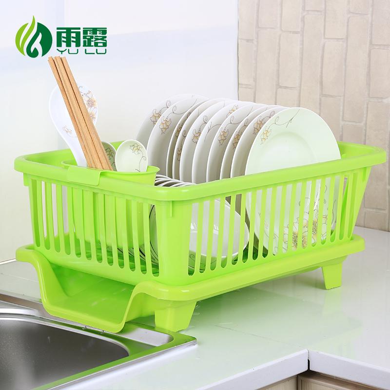 廚房瀝水碗架帶蓋碗筷餐具收納盒放碗碟滴水碗盤置物架櫃角架籃藍