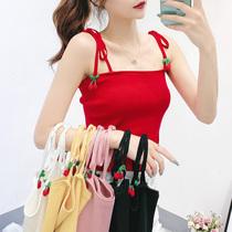 红色针织小吊带背心女外穿樱桃蝴蝶结系带无袖可爱上衣内搭打底衫