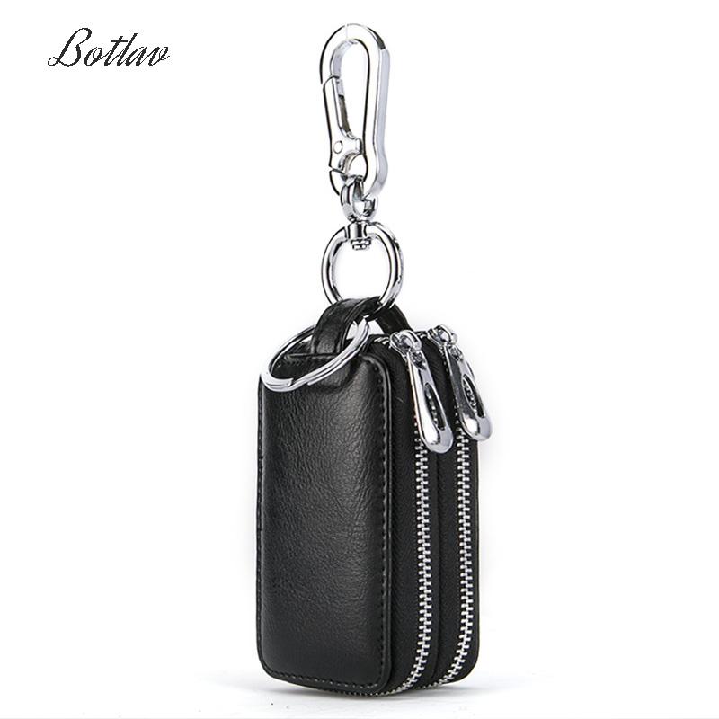 男士牛皮汽车钥匙包真皮多功能双层保护套女士迷你简约拉链包通用