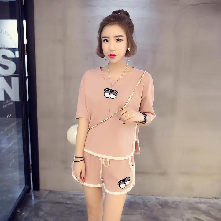 睡衣女夏季纯棉短袖韩版清新学生可爱宽松夏天大码两件套装家居服
