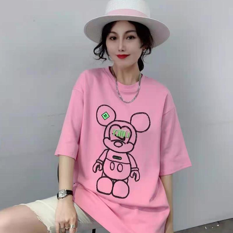 纯棉短袖T桖女ins潮2021夏季新款百搭宽松小熊印花t桖韩版大码女