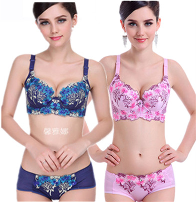 Xinyana thin Embroidered Bra, small bra thickening, gathering womens sexy underwear, adjusting the closure bra suit