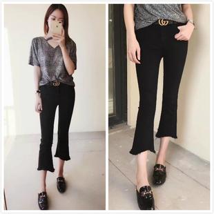 韓版夏季新款黑色微喇叭牛仔褲女九分褲高腰彈力緊身修身顯瘦薄款