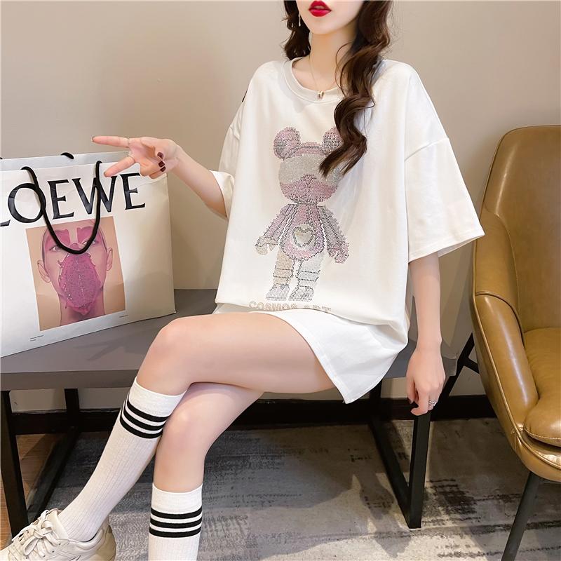 实拍2021夏装韩版宽松圆领卡通镶钻上衣中长款大码女装短袖T恤女
