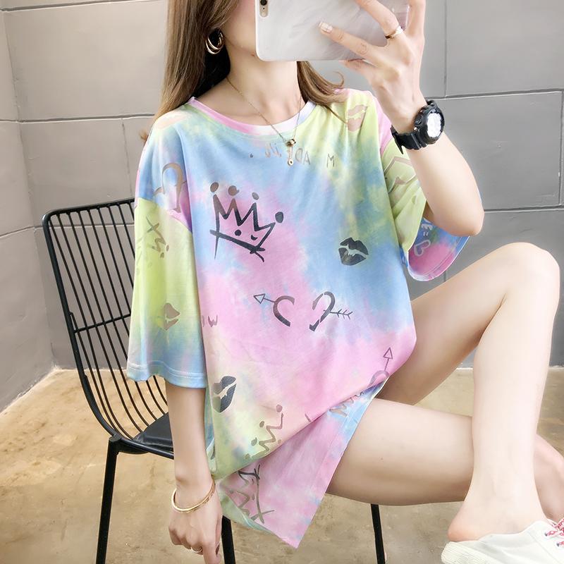 实拍2021夏装韩版宽松圆领82棉18聚酯纤维上衣大码女装短袖T恤女
