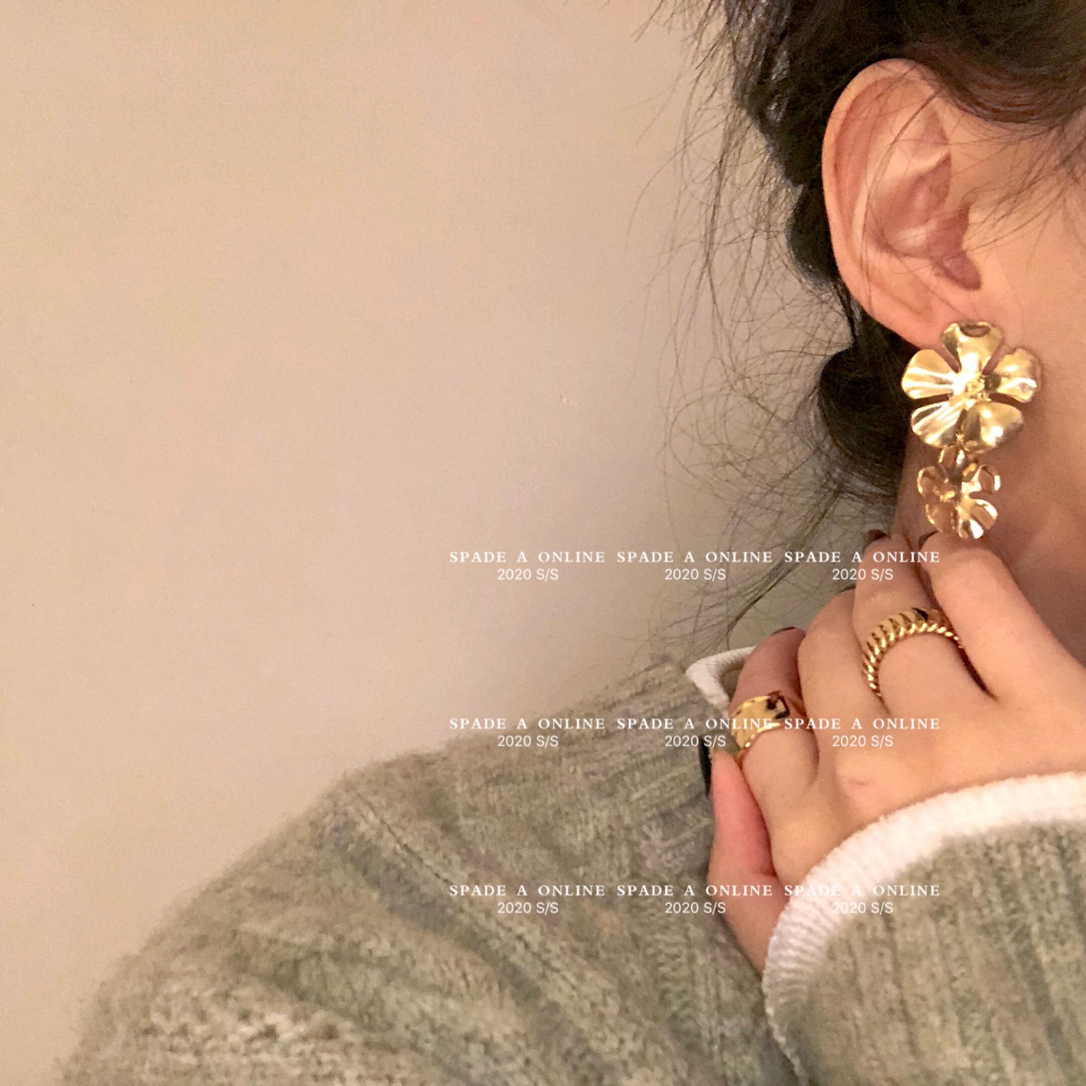 法式质感花朵耳环 韩国 银针 金属 ins博主 耳环女