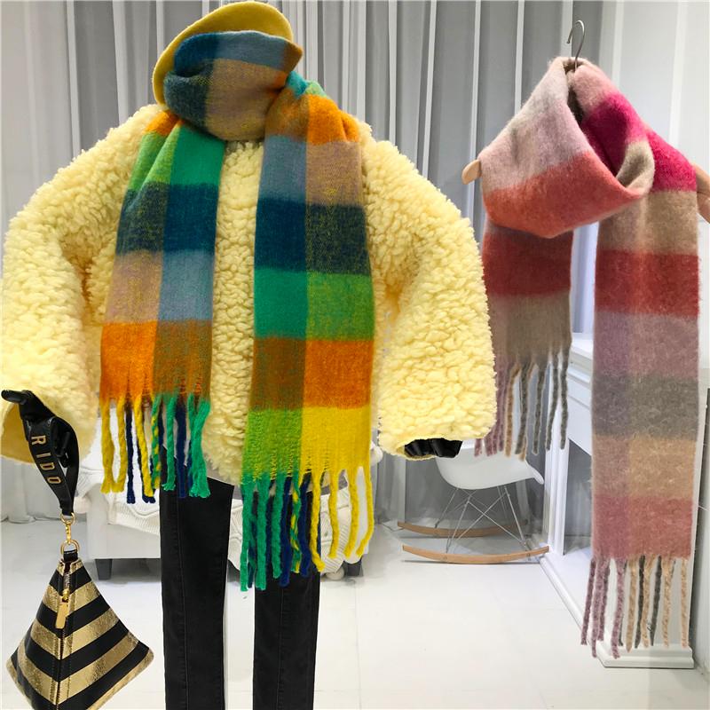 2019冬季新款彩色格子須邊圍巾女韓版加厚保暖圍脖百搭休閑披肩潮