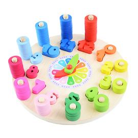 木制质数字时钟儿童认知玩具幼儿园时间教具钟益智力早教对数玩具图片