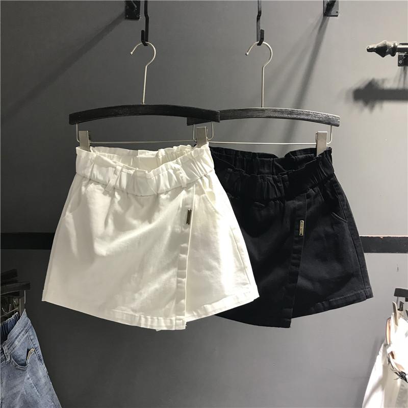 欧货2019夏季新款百搭松紧高腰牛仔短裙裤裙女显瘦A字包臀半身裙