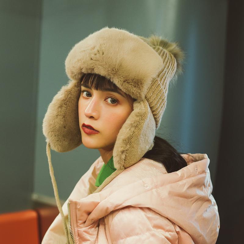 秋冬季加厚纯色雷锋帽