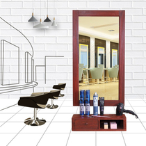 Quaint solid wood barber shop mirror Table Retro hair Salon Modern single-sided hanging wall European simple makeup salon mirror table