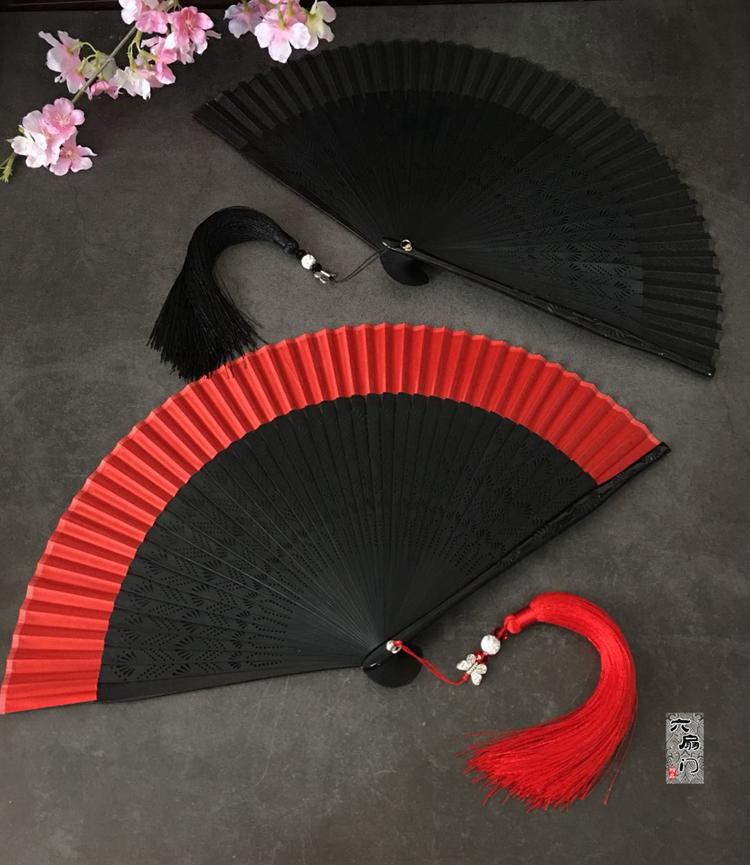 25.80元包邮中国风复古风日式和风折扇子雕刻麦穗纯色红色女士舞蹈扇便携小夏