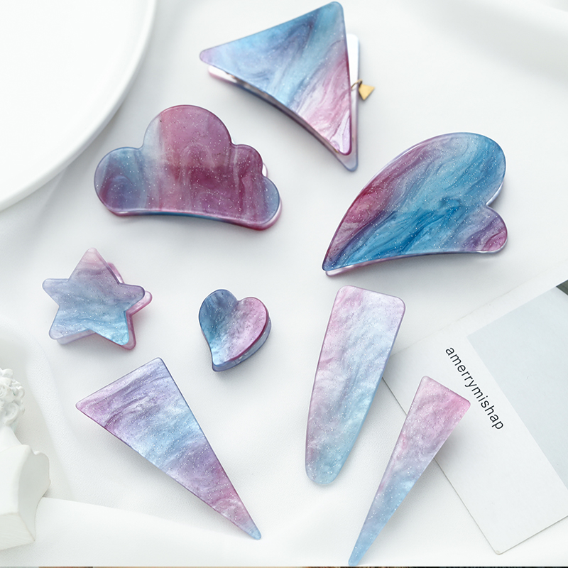 Korean girls heart star claw clip Ishihara rimei acetic acid hairpin female clip geometric dream love hairpin headdress