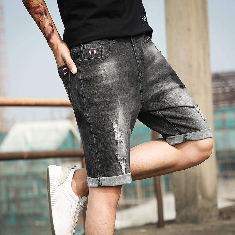 Summer thin 5-point pants shorts mens Korean slim casual perforated jeans trend mens pants
