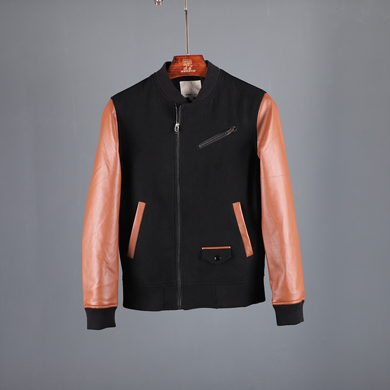 Forest mens mens zipper stitching contrast youth wool jacket spring autumn baseball suit trendy mens slim coat