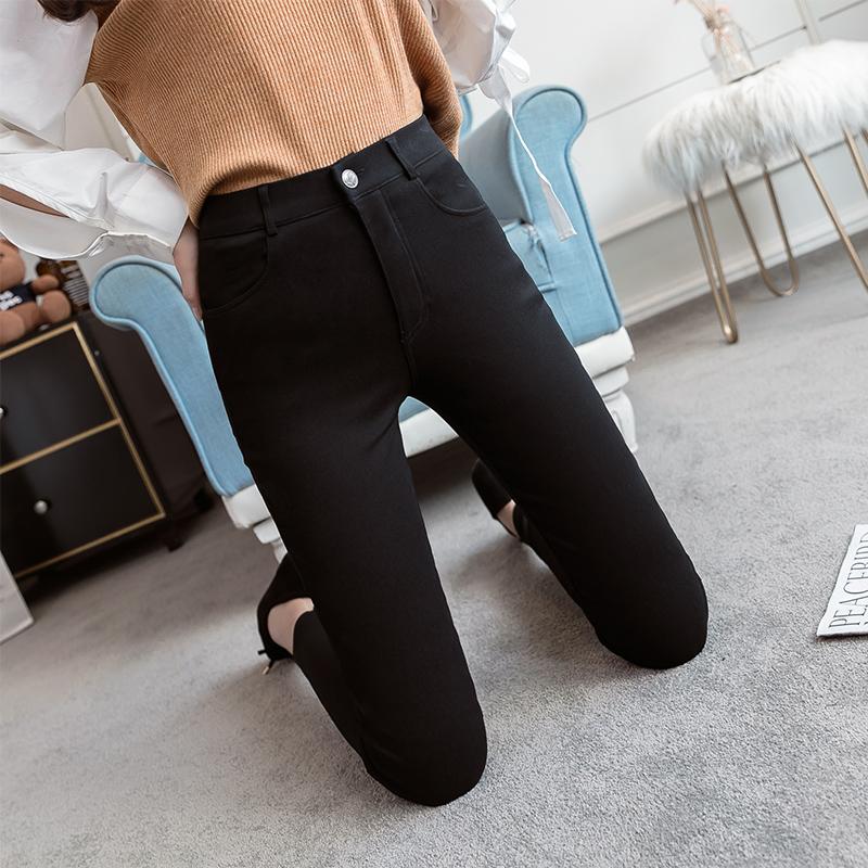 黑色铅笔裤2018新款高腰弹力小脚显瘦秋冬季打底裤女外穿加绒加厚
