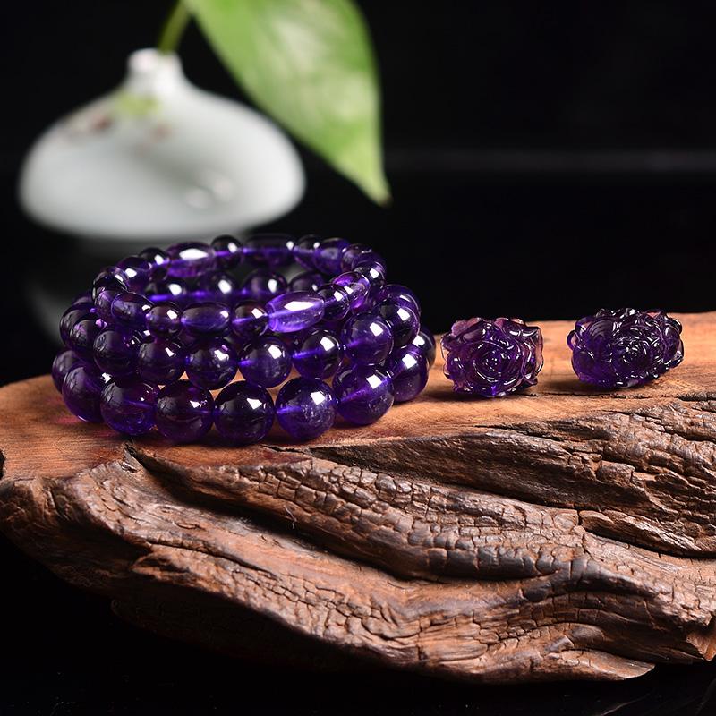 洪晶珠宝天然巴西紫水晶三圈手链手串雕刻吊坠直播专拍