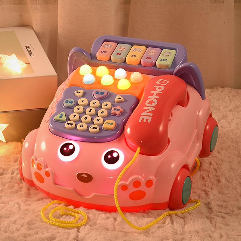 婴儿童玩具仿真电话机座机6男宝宝音乐益智早教0-1岁10个月7女孩8