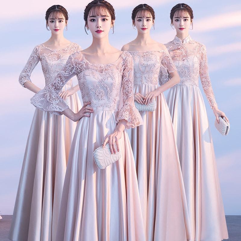 Подружка невесты одежда длинная модель 2018 новый корейский лето тонкий длинный рукав сестры группа производительность полный промышленность платья платье женщин тонкий