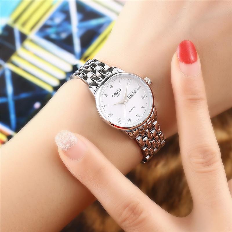 品質紳士腕時計夜光防水ダブルカレンダーカップル時計精鋼ベルト全自動薄型腕時計