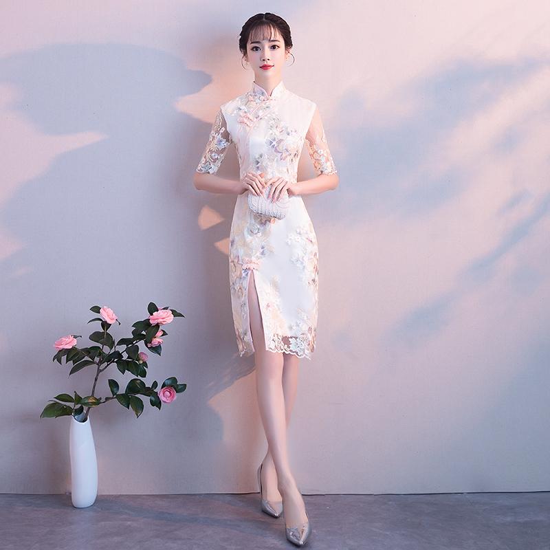 改良版旗袍连衣裙女夏2018新款少女时尚性感蕾丝短款修身复古礼服