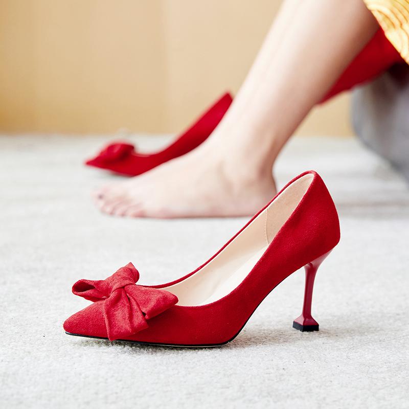 猫跟红色婚鞋女2019新款春季高跟蝴蝶结秀禾服结婚鞋子中式新娘鞋