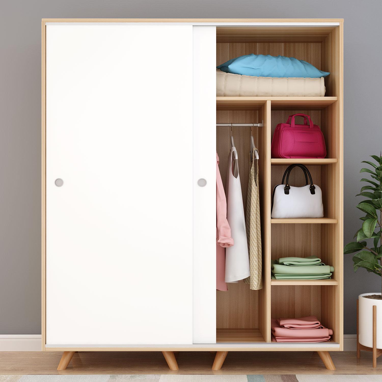 北欧移门衣柜简约现代经济型简易实木衣橱木质推拉门儿童卧室组装