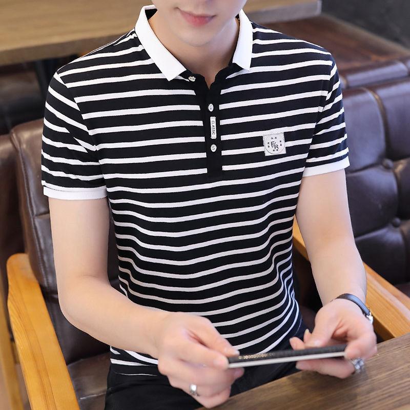 夏季新款男士纯棉短袖POLO衫青年韩版时尚潮流翻领T恤衫上衣服男