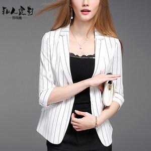 夏季条纹小西装女棉麻时尚薄款短款外套休闲七分袖白色亚麻西服夏