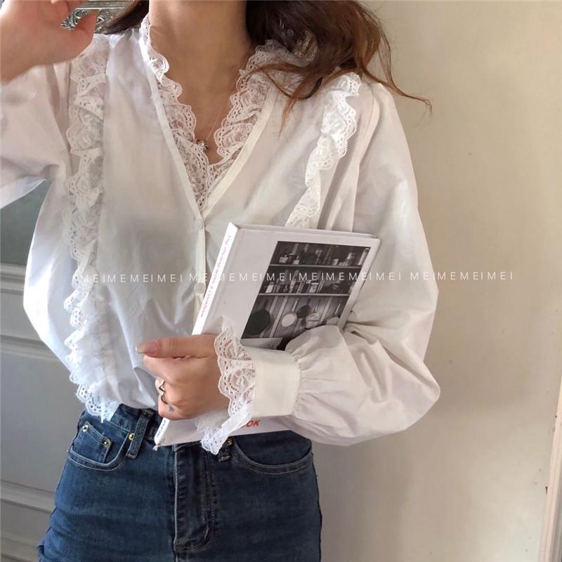 实拍实价 蕾丝花边单排扣V领衬衫
