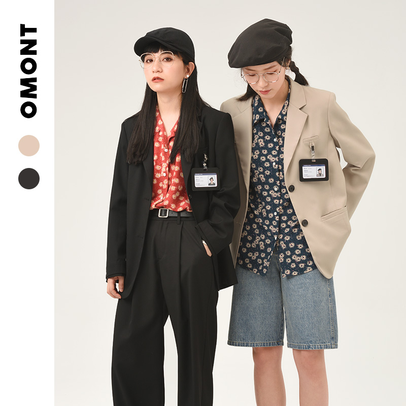 OMONT egg tarts retro fried street black small suit jacket female spring and summer thin set of temperament casual suit