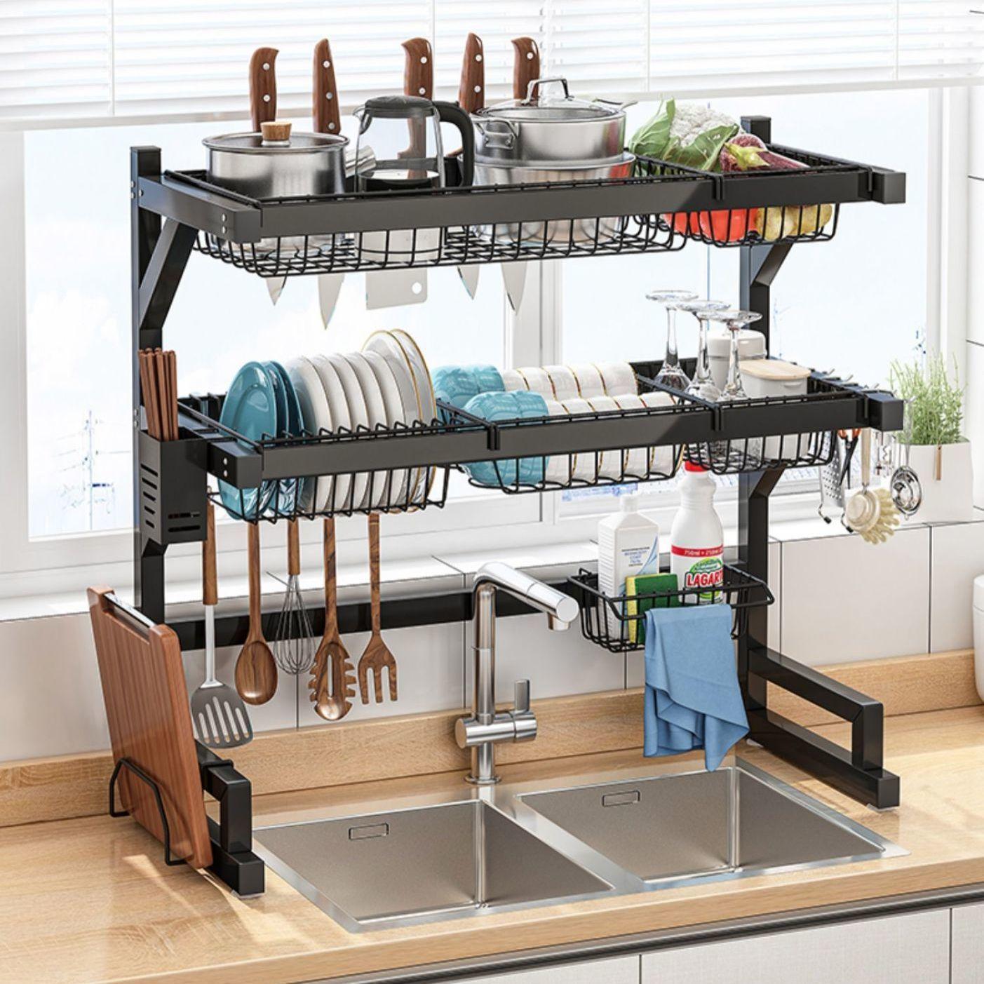 厨房水槽置物架多功能碗盘收纳架家用台面碗碟架水池上碗碟沥水架