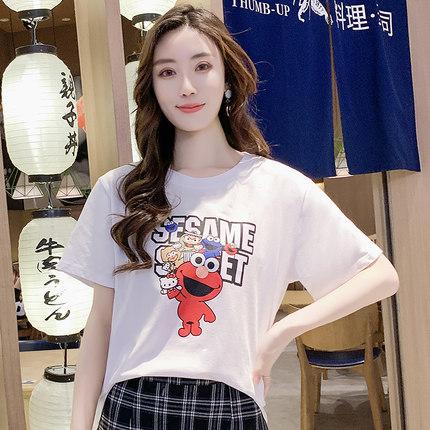 短袖女2019新款纯棉芝麻街白色T恤韩版夏季宽松情侣上衣百搭半袖