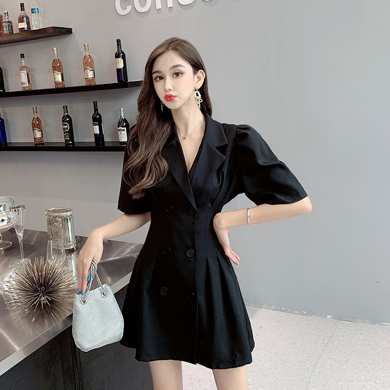 Ouhan 2020 new double breasted slim goddess youth temperament suit Short Sleeve Dress