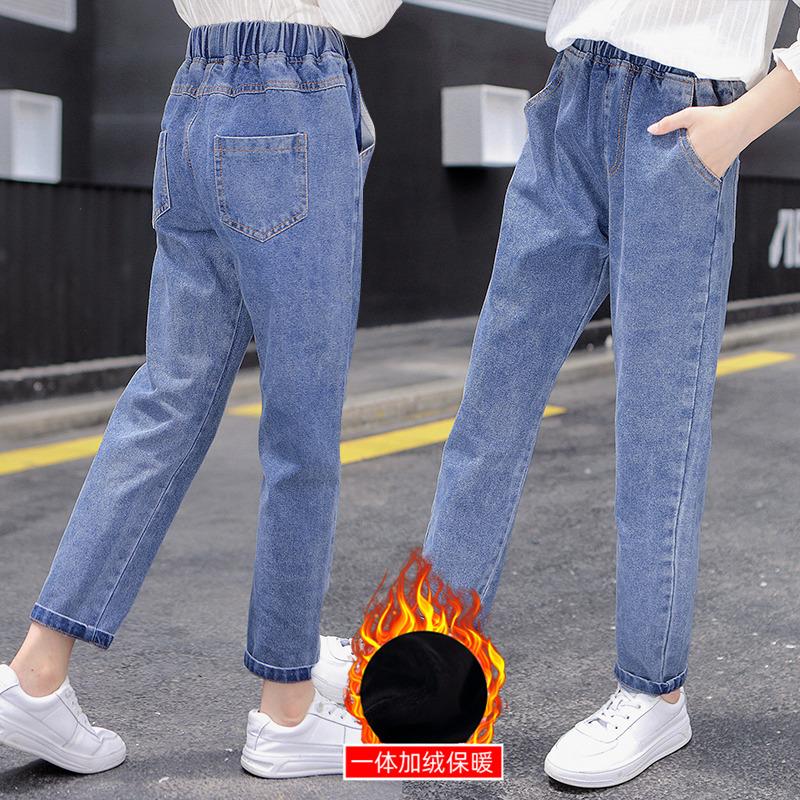 女童牛仔裤加绒2021新款中大童春秋冬长裤儿童萝卜裤子加厚一体绒