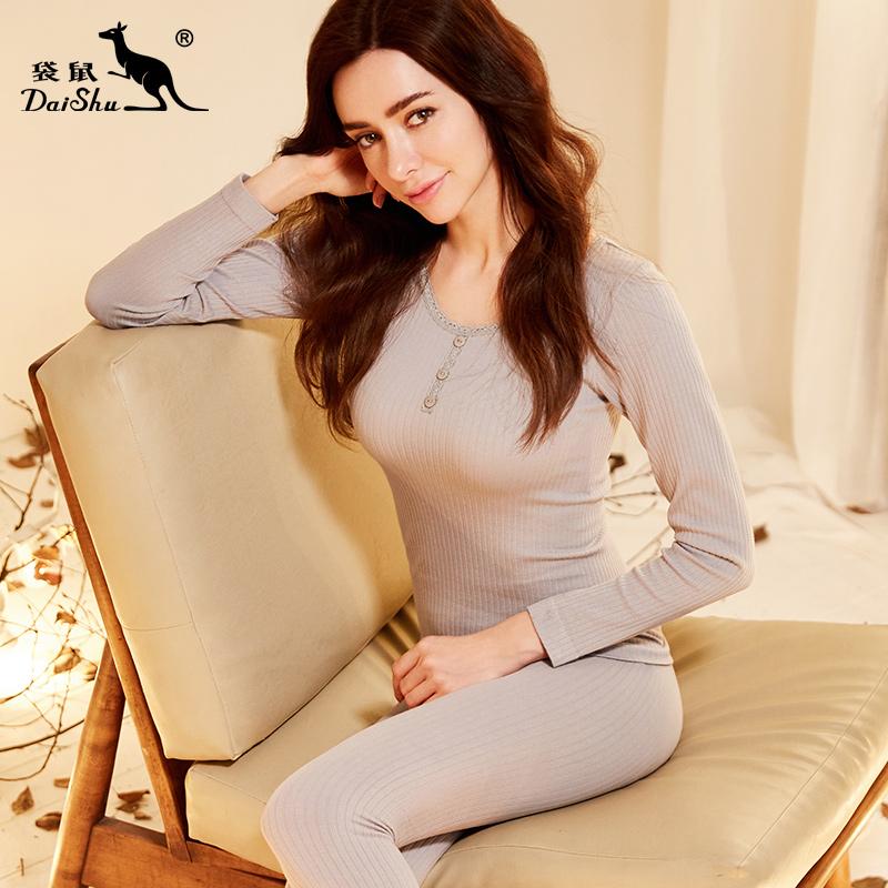 袋鼠女士立体针织美体套装蕾丝花边纯色性感秋冬保暖内衣莫代尔女