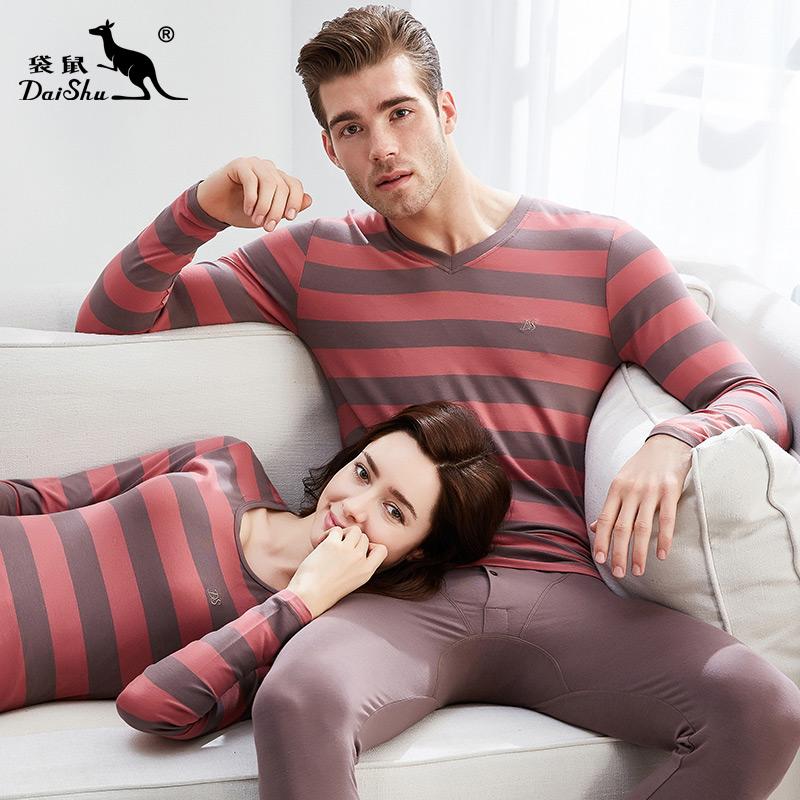 袋鼠情侣宽条纹圆领基础内衣套装男士秋衣秋裤女士保暖内衣打底服