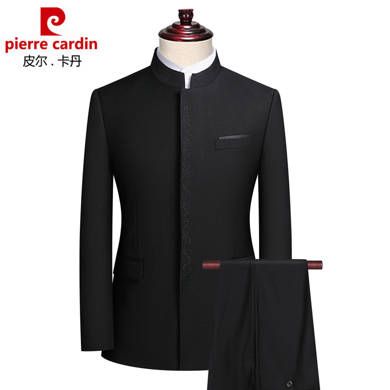 Pierre Cardin Zhongshan suit mens Chinese stand collar suit Chinese style wedding party dress Tang suit