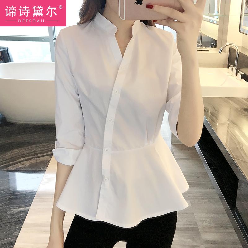 衬衫女装夏装2018新款韩范宽松夏季时尚气质中袖上衣显瘦白色衬衣