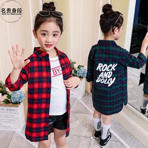 2020秋季新款韩版长袖格子女童衬衫儿童中大童中长款上衣