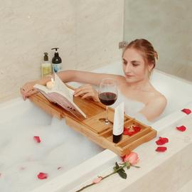 浴缸置物架 多功能伸缩防滑防水 竹制泡澡手机看电视红酒架浴缸架