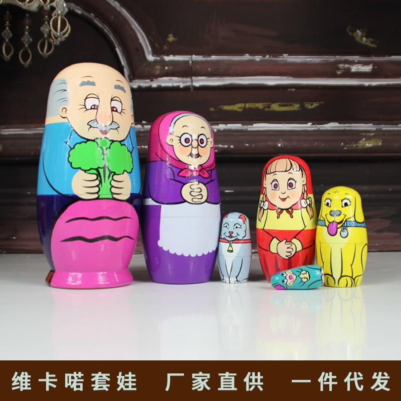 进口俄罗斯套娃6层老爷爷动物木质玩具特色手工艺品礼物正品包邮
