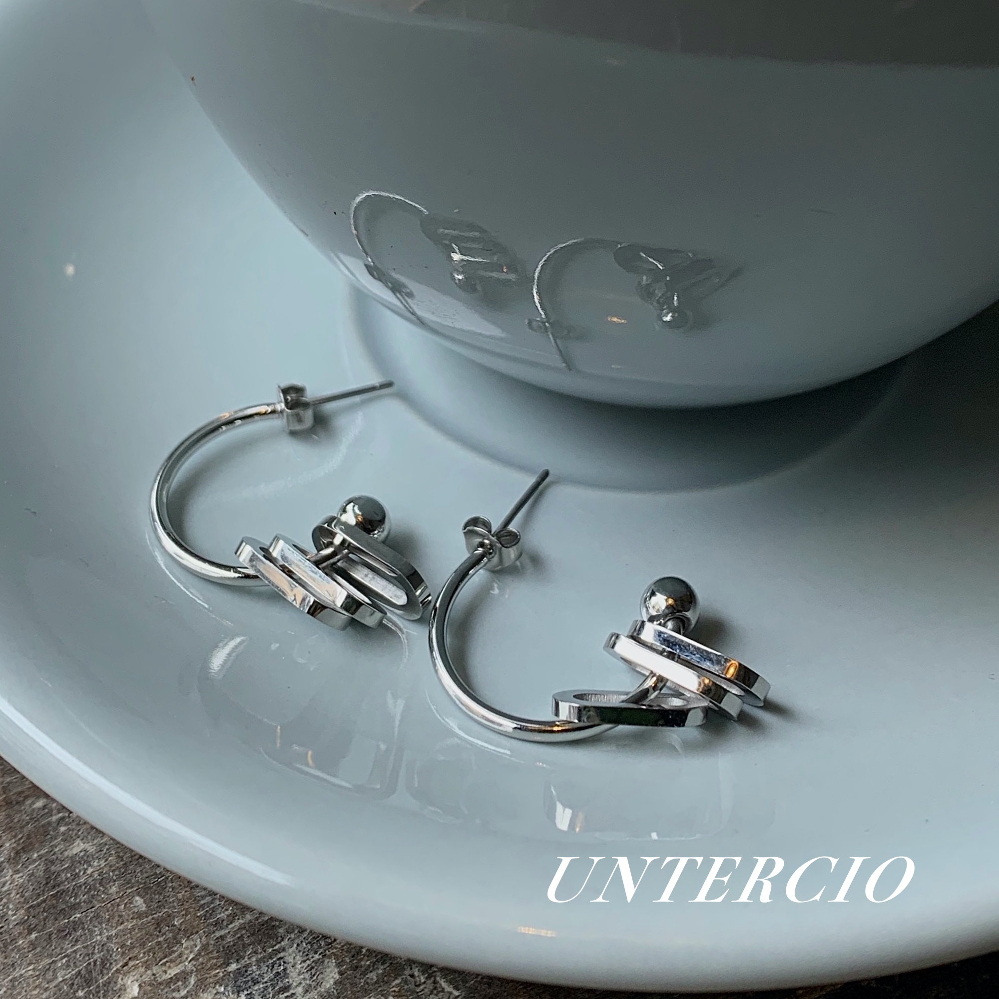 Untercio justice earrings silver metal rings chic multi-layer niche cool wind ins Fashion Earrings